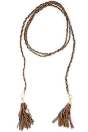 Leather Tassel Tie Necklace