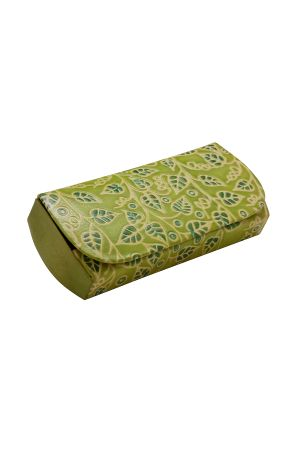 Leather Glasses Case (Green Leaves)